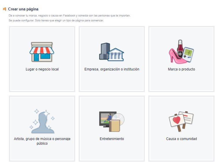 Crear pagina facebook