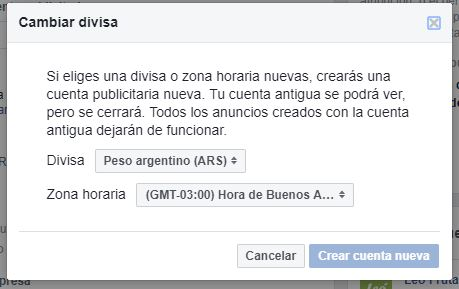 advertencia cambio de divisa facebook