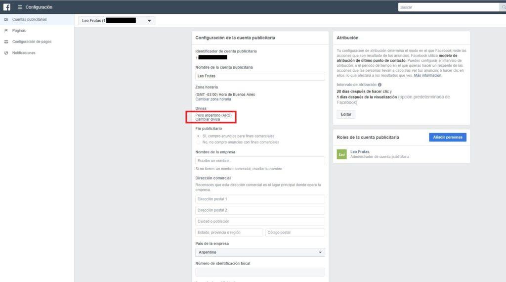 cambiar método de pago facebook