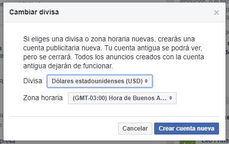 cambio a dolares cuenta publicitaria facebook