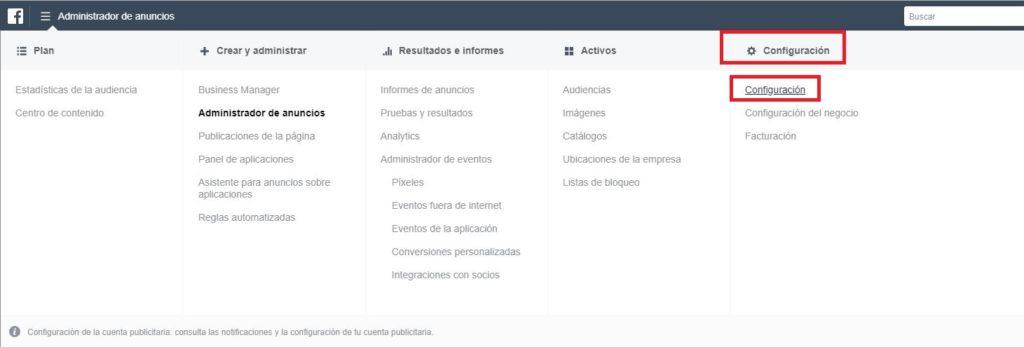 configuración facebook cuenta publicitaria