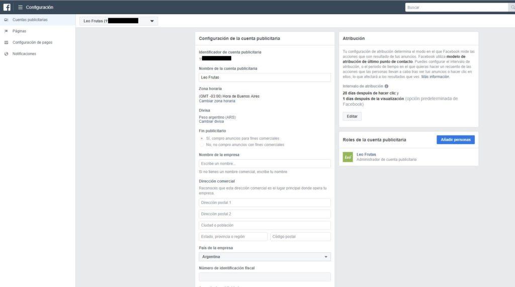 configuración cuenta publicitaria Facebook