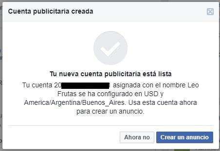 cuenta publicitaria creada facebook