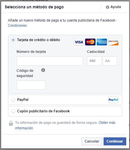 forma de pago dolares en Facebook
