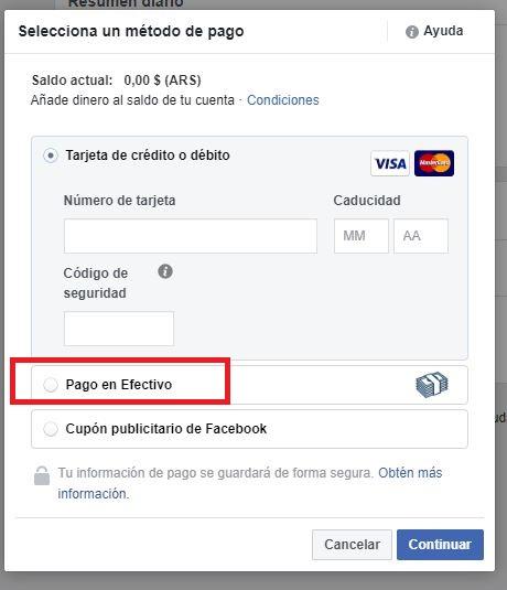 pago en efectivo en pesos facebook