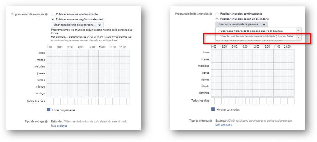 zona horaria facebook