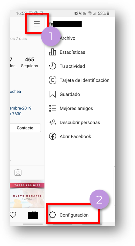 configuracion instagram